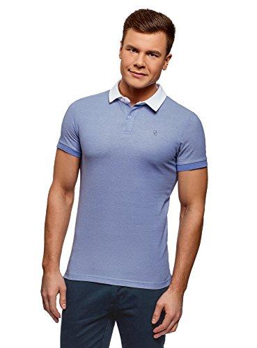 oodji Ultra Herren Poloshirt mit Kontrastkragen, Blau, DE 44 / XS