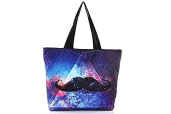 Farleen - 2015 Galaxie Sacs Portés Femme Fille Epaule Moustache Imprimé Sac Main Bandoulière Longchamp Voyage Canevas
