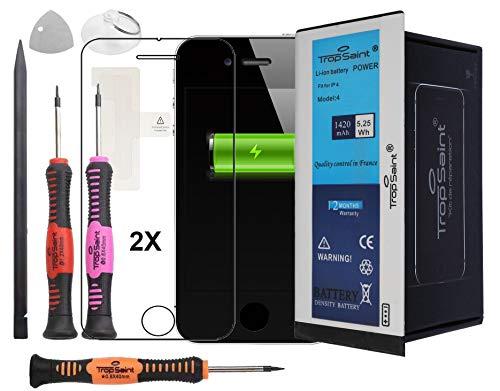 Trop Saint® Akku für iPhone 4-1420mAh/3,8V Ersatzakku Reparaturset mit Werkzeug, Sticker und 2 Panzerglasfolie