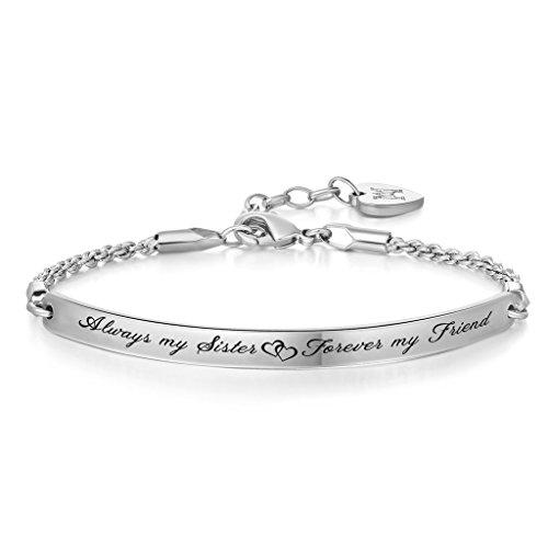 Imagen de joyería inspiración, pulseras personalizadas de mujer con texto en inglés grabado always my sister, forever my friend