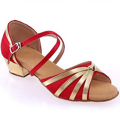Scarpe da ballo-Personalizzabile-Da donna-Balli latino-americani-Tacco su misura-Raso Di pelle-Nero Blu Rosso Blue