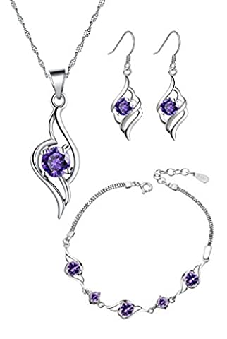 Ladie's Sterling Silver Purple Amethyst CZ Set with Angel Pendant Necklace + Dangle Drop Earrings + Matching Angel