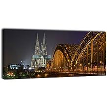 Leinwandbild Panorama Nr. 251 Kölner Dom bei Nacht 100x40cm, Keilrahmenbild, Bild auf Leinwand, Köln Rhein Dom