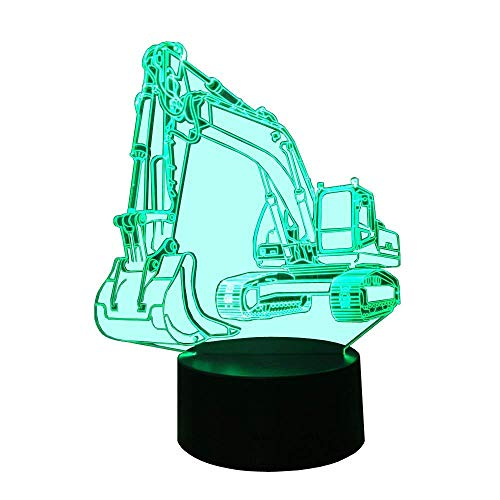 3D Bagger Illusions LED Lampen Tolle 7 Farbwechsel Acryl berühren Tabelle Schreibtisch-Nacht licht mit USB-Kabel für Kinder Schlafzimmer Geburtstagsgeschenke Geschenk