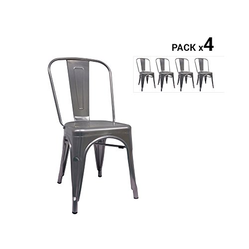 regalosMiguel - Pack 4 Sillas Industriales Torix Grises Metalizados (Inspirado en la Línea Tolix)
