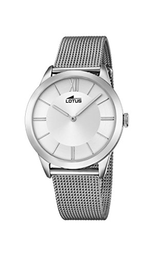 Lotus Unisex Quartz Watch with Silver Dial Analogue Display and Silver Stainless Steel Bracelet 18327/1