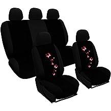 Woltu AS7251 Fundas de asiento universales para fundas de asiento de coche fundas de asiento protección de la cubierta, bordado de mariposa, negro