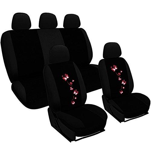 WOLTU AS7251 Set Completo di Coprisedili per Auto Macchina Seat Cover Universali Protezione per Sedile di Poliestere con Ricamo Farfalle Nero