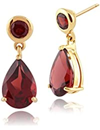 11c952b11 Gemondo Women 375 Gold 9ct Yellow Gold Pear Garnet Classic Two Stone Drop  Earrings Red