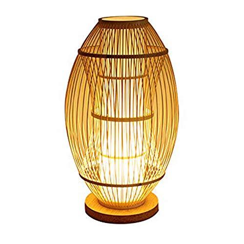 2020 Lámpara de Mesa Simple Lámpara de Mesa Zen Lámpara de Mesa de bambú Hecha a Mano Lámpara de Mesa de bambú Vertical E27 3C Cabeza de lámpara Espiral certificación estándar