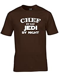 Naughtees clothing Chef by day, Jedi by night T-shirt. Funny gift for retirement, birthdays, leaving parties or just for fun.