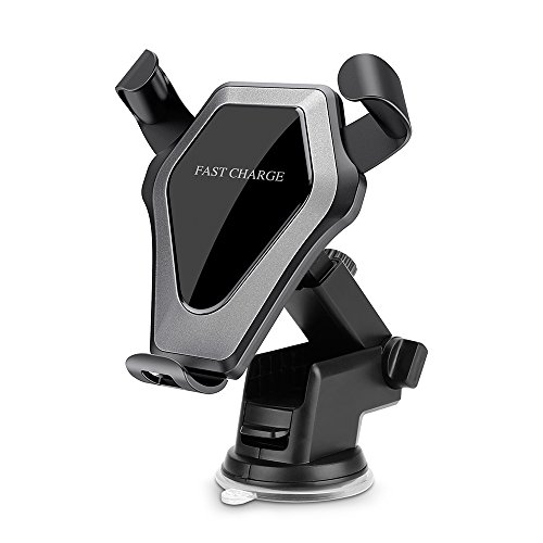 Festnight Qi Standard Car Wireless Charger Stand Gravity Dashboard Windshield Car Mount Air Vent Phone Holder Cradle Suction Mount Fast Charging for iPhone X/8/8 Plus Samsung Galaxy S8/S8+ und mehr Standard Phone Mount