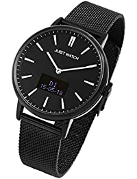Just Watch-Damenuhr JW107 Hybrid Smart Watch Edelstahl Meshband Melanaise JW10059 (schwarz)
