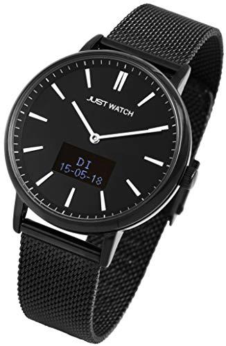 Just Watch-Damenuhr JW107 Hybrid Smart Watch Edelstahl Meshband Melanaise JW10059 (schwarz)