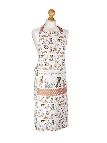 SPOTTED DOG GIFT COMPANY Kochschürze Damen Schürze Frau, größenverstellbar mit Vordertasche 100% Baumwolle, lustiges Hunde Design Geschenk für Frauen Köche und Tierliebhaber