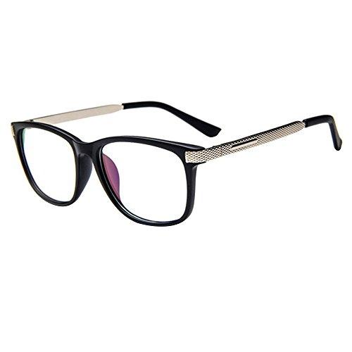 Brille Metall Forepin Klare Linse Brille Klassisch Damen Fensterglas Ohne Stärke Nerdbrille...