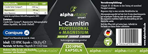 L-Carnitin Carnipure® Professional + Magnesium-Citrat – ohne Magnesiumstearat – 120 Kapseln – vegan