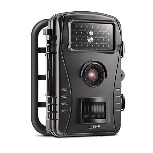 "Wildkamera LESHP Jagdkamera 70 Grad Weitwinkel Nachtsicht Funktion 2.4"" LCD Bildschirm 26 Pics IR Leds 720P Wasserfest PIR HD Hunting Trail Video Wild Überwachungskamera"