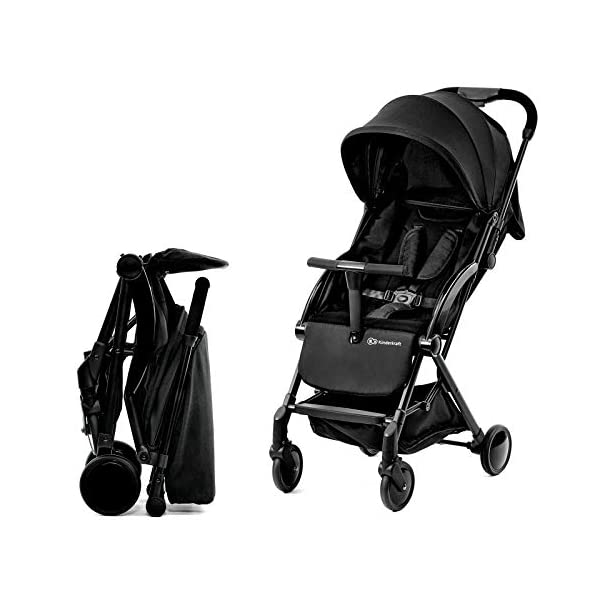 Kinderkraft Stroller PILOT Lightweight 5.8kg Compact Folded Pushchair Pram Buggy with Adjustable Footrest | Accessories Rain and Foot Cover from Birth to 3.5 Years (0-15kg) kk KinderKraft Mechanism for easy folding with one hand After folding, the stroller resembles a briefcase You do not have to stop and move around the stroller to make eye contact with the child 1