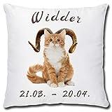 TRIOSK Kissen Katze mit Sternzeichen Widder, lustiges Geschenk für Katzenfreunde, Dekokissen Zierkissen inkl. Füllung 40x40 cm Weiß Beige
