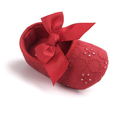 by mädchen Weiche Sole Bowknot Schuhe Weiche Unterseite Blume Prewalker Turnschuhe (11cm/0-6 Monate, Rot) (Rote Blumen-mädchen-schuhe)