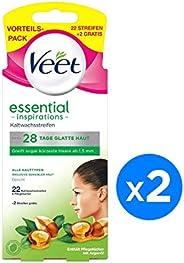 Veet Wax Strip Essential Inspiration 22+2 Pcs,(Pack of 2)