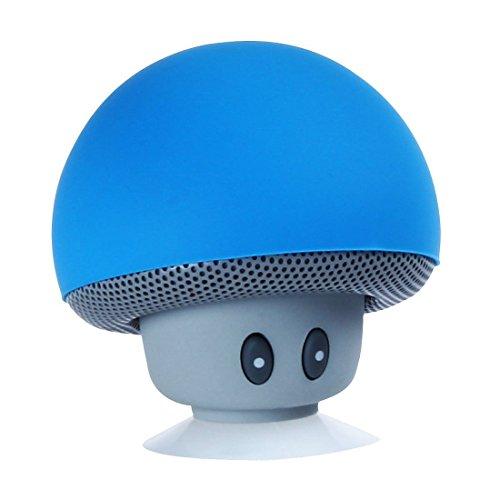 Sudroid Mini beweglicher drahtloser Bluetooth Lautsprecher Stereo Pilz Saugnapf mit Handfreier Bluetooth (blau)