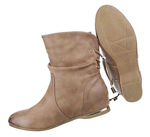 ... Damen Stiefeletten Schuhe Keil Wedges Boots Used Optik Schwarz Hellbraun  ...
