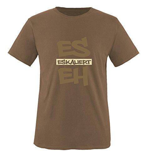 Comedy Shirts - Es eskaliert eh - Graffiti - Herren T-Shirt - Braun/Hellbraun-Beige Gr. S