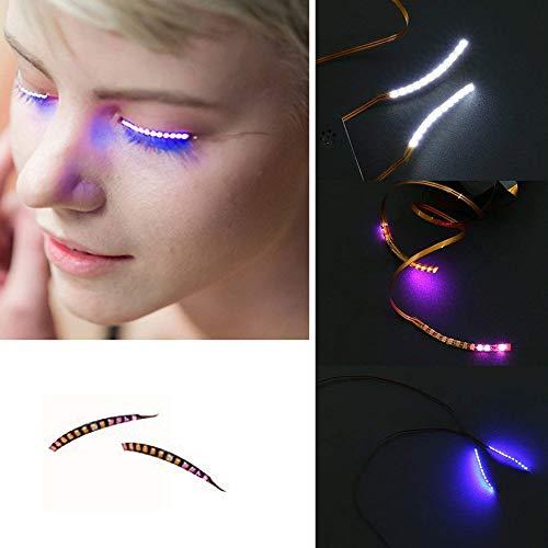EisEyen Wasserdicht LED Falsche Wimpern Sprachsteuerung Lange 3D Augenlid Aufkleber für Masquerade Ball Parties Halloween Christmas Pub Club Bar