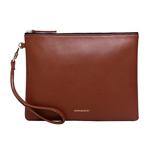 Damen Echtes Leder Clutch Schaffell Geldbörse Abendtasche mit Handschlaufe (Braun) - Blau Lammfell Brieftasche