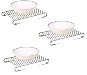 SAJANI Kitchen Stainless Steel Hot Plate Stand - Pack of 3 Stainless Steel Pot Coster Set