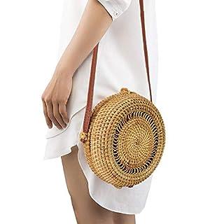 AIHOME Crossbody Tasche Runde Stroh Strandtasche Frau Weben Schulter Tasche Sommer Handarbeit Umhängetasche Strand Geldbörse zum Reise Täglicher Gebrauch