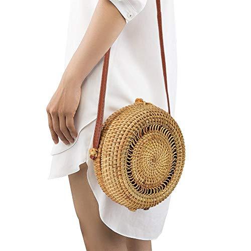 Bolso de ratán redondo, tejido a mano, cestas de la compra, pajita de corte, cesta de mercado, correa de mimbre cruzada, bolsas de moda vintage
