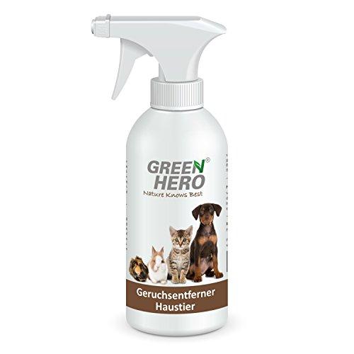 GreenHero Geruchsentferner Haustier Spray für Katze, Hund und Nager | 100% Natürliche Geruchsreinigung durch Enzyme bzw. Mikroorganismen | Geruchsneutralisierer gegen organische Gerüche | Urin, Tiergeruch, Erbrochenes etc. | Hautverträglich, frei von Duftstoffen