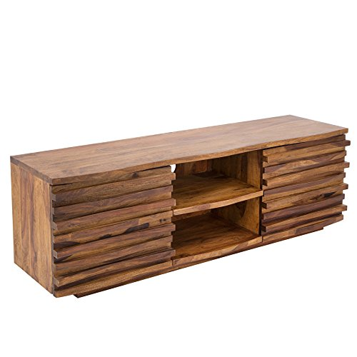 Riess Ambiente Massives TV-Board Relief 150cm Sheesham Holz Stone Finish Lowboard Fernsehschrank Wohnzimmerschrank
