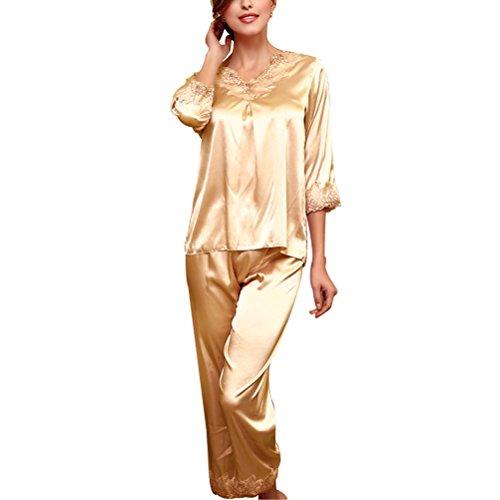 Zhhlaixing Fashion TZ028 Women's Satin Silk Long Sleeve Sleepwear One set Nightwear Pajama Set Champagne
