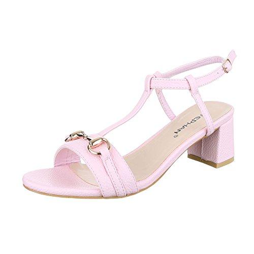 Pantoletten Damen Schuhe Jazz & Modern Pump Moderne Schnalle Ital-Design Sandalen / Sandaletten Rosa, Gr 40, P-660-