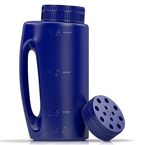 Ezi- esparcidor portátil con orificio de tamaño ajustable, práctico para fertilizantes, césped, semillas, sal para descongelar, repelente de insectos y mucho más. viene con una tapa de repuesto