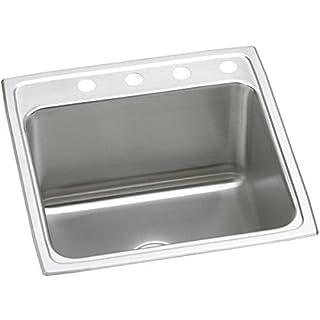 Elkay DLR2222103 3-Hole Gourmet Single Basin Drop-in Stainless Steel Kitchen Sink, 22-Inch x 22-Inch