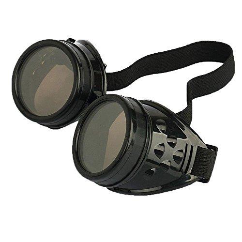 Leegoal (TM) Vintage Steampunk Brille, Schweißer Cyber Punk Gothic Cosplay Schutzbrille schwarz schwarz