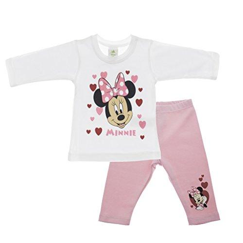 Mädchen Baby-Set 2-teilig von Minnie Mouse in GRÖSSE 56, 62, 68, 74, 80, 86, weiß oder rosa, T-Shirt LANGARM mit Motiv-Applikation und langer Hose, Freizeit- und Wohlfühl-Outfit Color Weiss, Size (Kostüme Kleinkind Armee)
