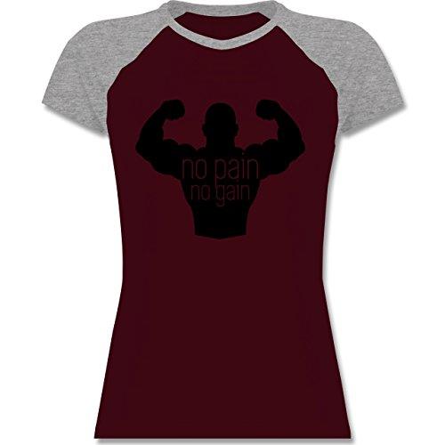 Shirtracer CrossFit & Workout - No Pain No Gain - Zweifarbiges Baseballshirt/Raglan T-Shirt für Damen Burgundrot/Grau meliert