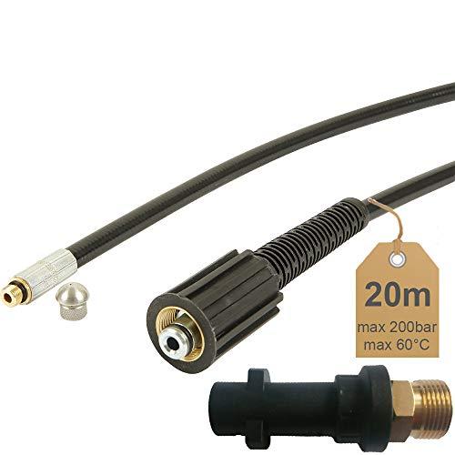 Rohrreinigungsschlauch | 20m, 200bar, 60°C | inkl. Düse starr | inkl. Adapter | geeignet für Hochdruckreiniger Kärcher. | von McFilter