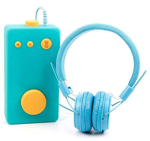 DURAGADGET Casque Bleu Enfant Compatible avec Lunii, ma Fabrique à Histoires - Repliable + Microphone intégré
