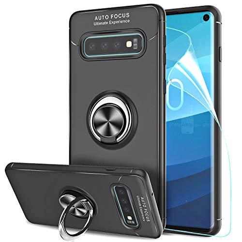 LeYi Hülle Galaxy S10 Handyhülle mit HD Folie Schutzfolie,Cover Bumper 360 Grad Ring Stand Magnetische Schutzhülle für Case Samsung Galaxy S10 Handy Hüllen JSZH Schwarz