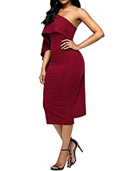Lrud Ladies Off Shoulder Ruffles Batwing Cape Party Bodycon Midi Pencil Dresses 5