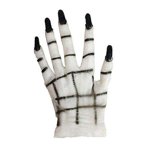 gloryhonor Halloween Horror Monster Teufel Vampir Ghost Hände Handschuhe Kostüm Cosplay Prop, Gummi, Weiß/Schwarz, Einheitsgröße