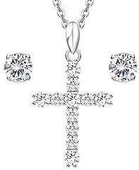 Idea Regalo - Elegante Parure da donna, composta da collana con crocifisso e coppia orecchini punti luce, in acciaio inox e zirconi chiarissimi,in raffinata confezione regalo