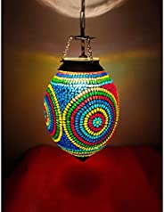 iHandikart Handmade Multicolor Heritage Style Glass Hanging lamp from iHandikart Handicrafts 14x9 Inch(IHK2500